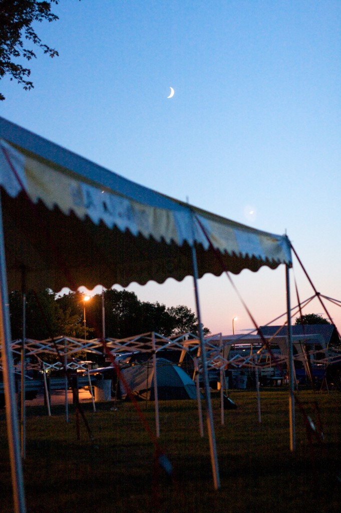 The moon rises over the Black Hawk tent