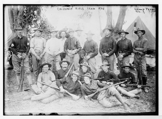 (1908, CAMP PERRY, OH) California Rifle team, seated and standing in group Camp Perry. Glass negative. Photo from the Library of Congress.